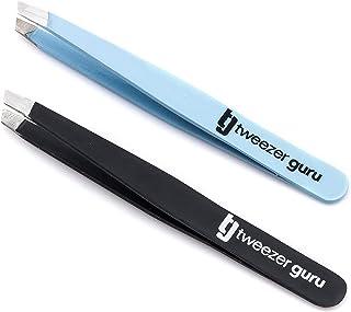 Tweezer Guru Slant Tweezers - Professional Stainless Steel Slant Tip Tweezer - The Best Precision Eyebrow Tweezers For Your Daily Beauty Routine (Baby Blue & Black)