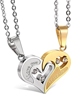 Jstyle Stainless Steel Mens Womens Couple Necklace Friendship Puzzle CZ Love Matching Heart Pendants