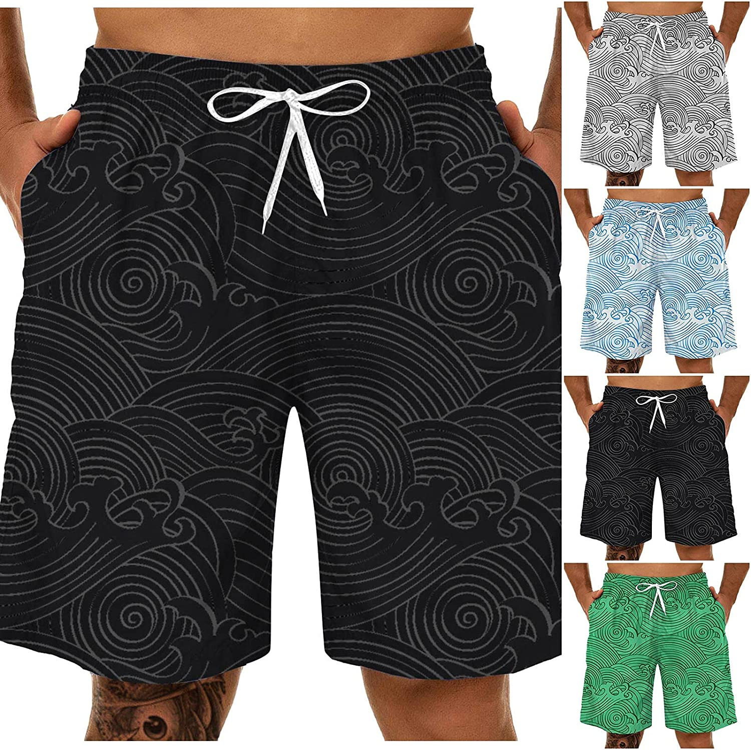 Plus Size Swim Trunks for Men,Quick Dry Beach Short 3D Waves Printed Hawaii Swimwear Board Shorts with Pockets