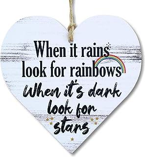 "CARISPIBET Inspirational Wall Art  When it Rains Look for Rainbows Wall Decor Inspiring Quote 5""x 5"""
