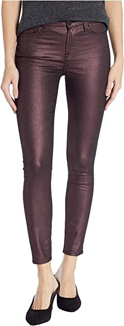 Metallic Ankle Skinny in Plum