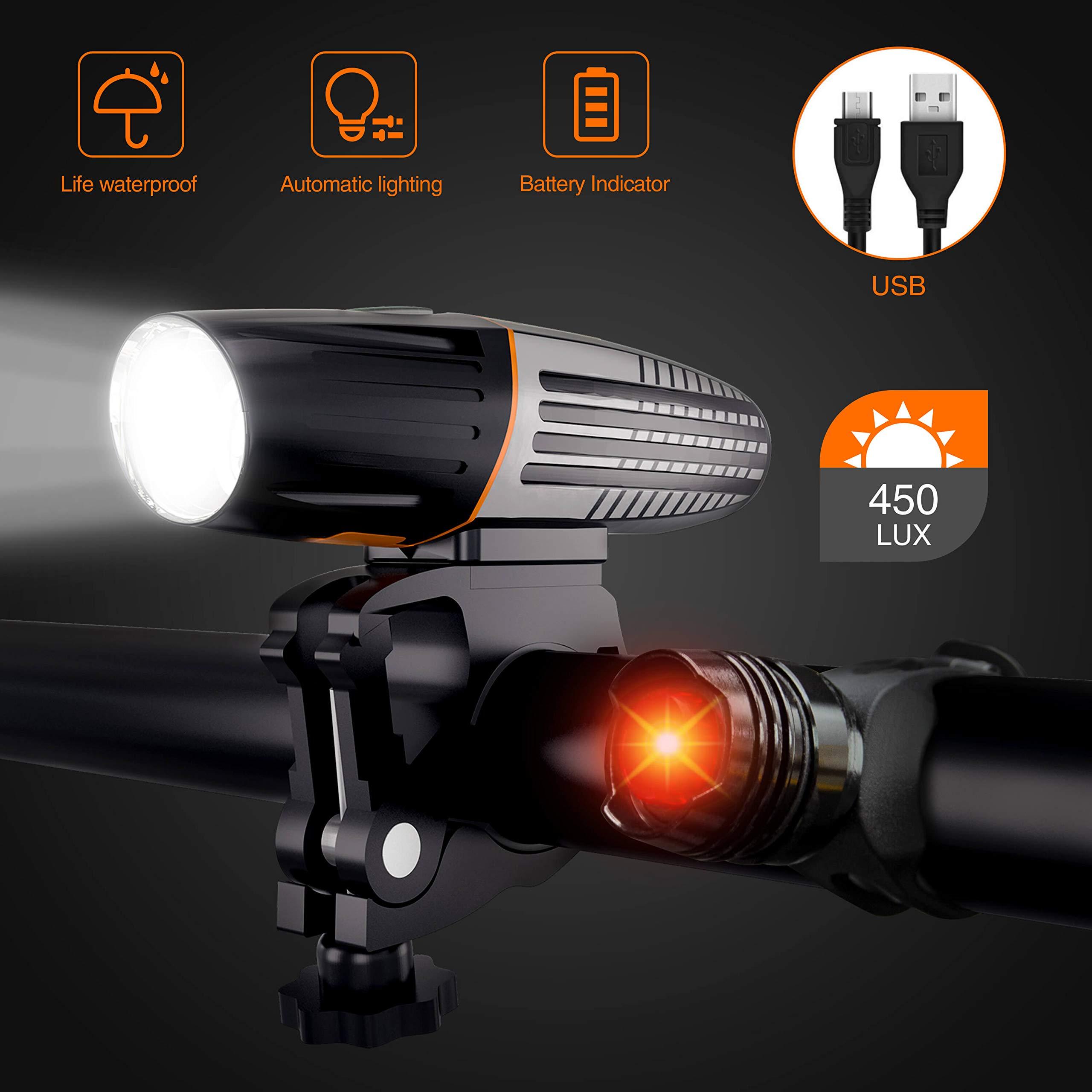 Luz Bicicleta LED, 6 Modos Luz Trasera Bicicleta Kit Impermeable y ...