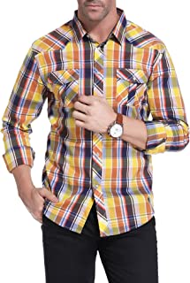 VITryst-Men Chest Pockets Oxford Button Big and Tall Business Western Shirt