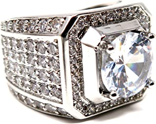 Hollywood Jewelry Iced Out Men's Ring Hip Hop White Cubic Zirconia (CZ) Stones, Platinum Plated. Holiday Christmas Collect...