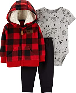 Carter's Baby Boys` 3-Piece Little Jacket Set, Red Plaid, 24 Months