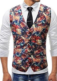 MU2M Men Floral Party Tuxedo Vest V-Neck Dress Suit Coat Waistcoat