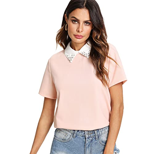 6fc106e7 Romwe Women's Cute Contrast Collar Short Sleeve Casual Work Blouse Tops