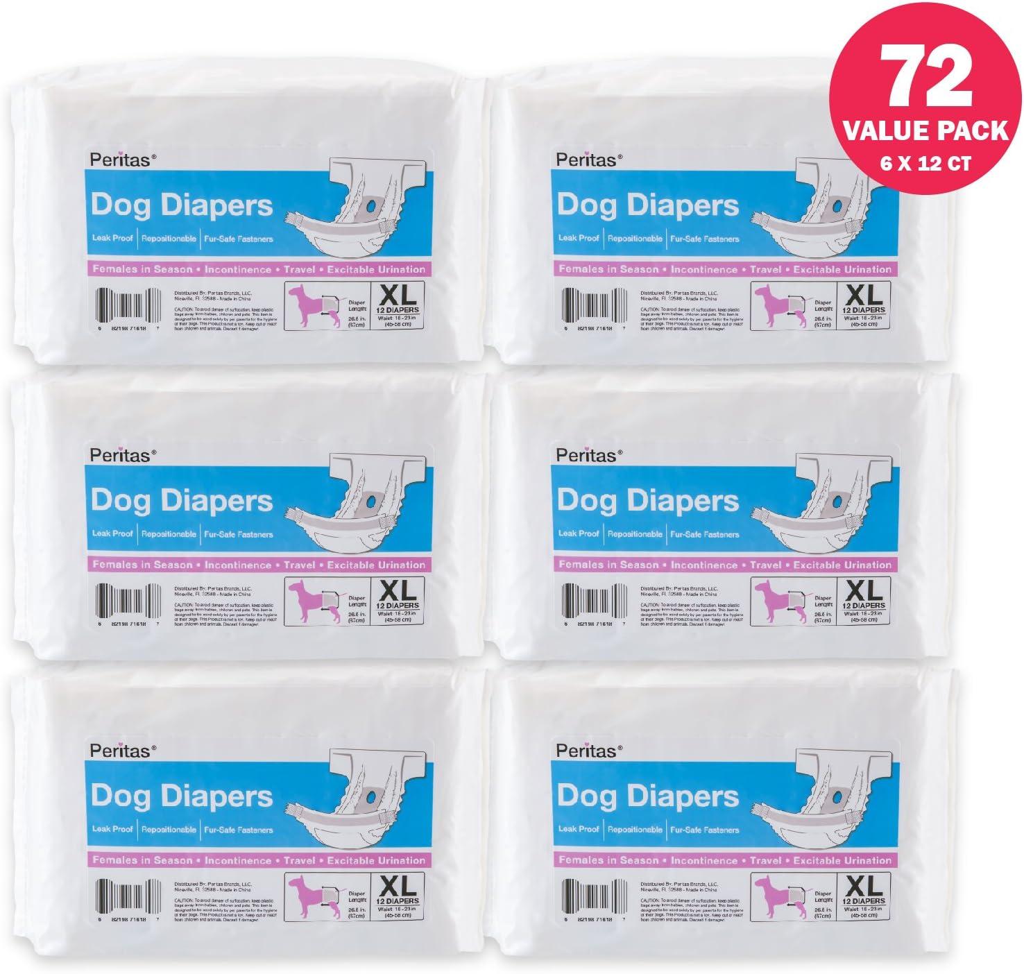 12 Count, Large Peritas Female Disposable Premium Dog Diapers