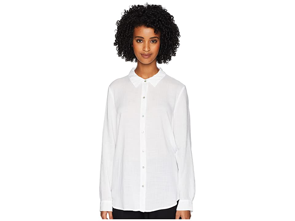 Eileen Fisher Drapey Tencel Crosshatch Classic Collar Shirt (White) Women