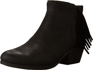 حذاء Clarks حريمي Gelata Flora Bootie، جلد البقر الأسود جلد النوبوك/الماعز مقاس 5 M أمريكي