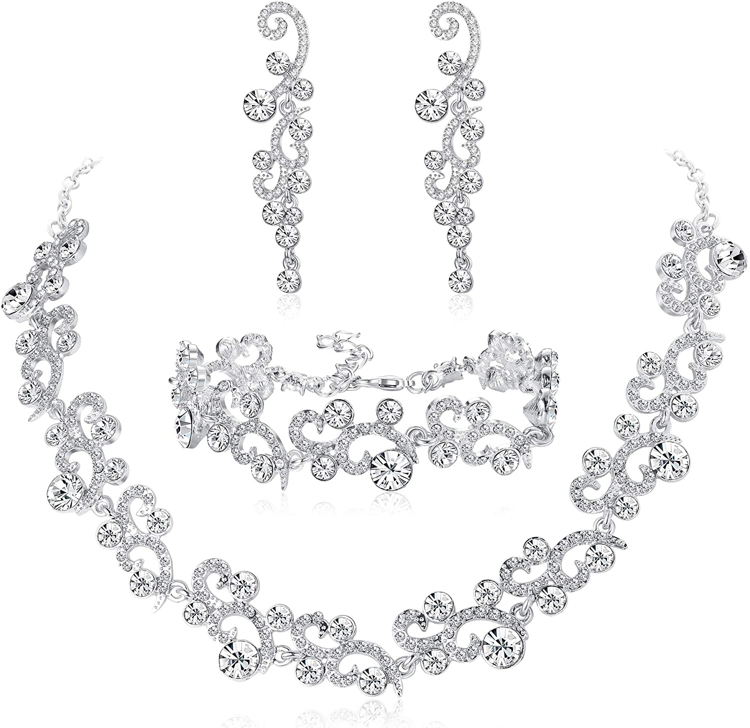 Jstyle Rhinestone Wedding Bridal Jewelry Set for Women Crystal Bracelet Necklace and Drop Earring Set for Wedding Gift