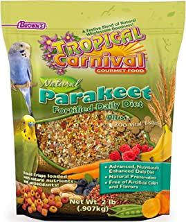 F.M. Brown's Tropical Carnival Natural Parakeet Food, 2-lb Bag - Vitamin-Nutrient Fortified Daily Diet with NO Artificial ...