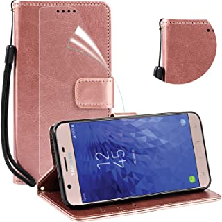 ADroid Luxury PU Leather Wallet Flip Protective Case Cover with Card Slots&Stand for Samsung Galaxy J7 2018, J7 Refine, Galaxy J7 Star, J7 V J7V 2nd Gen, Samsung Galaxy J7 Crown/TOP-Rose Gold