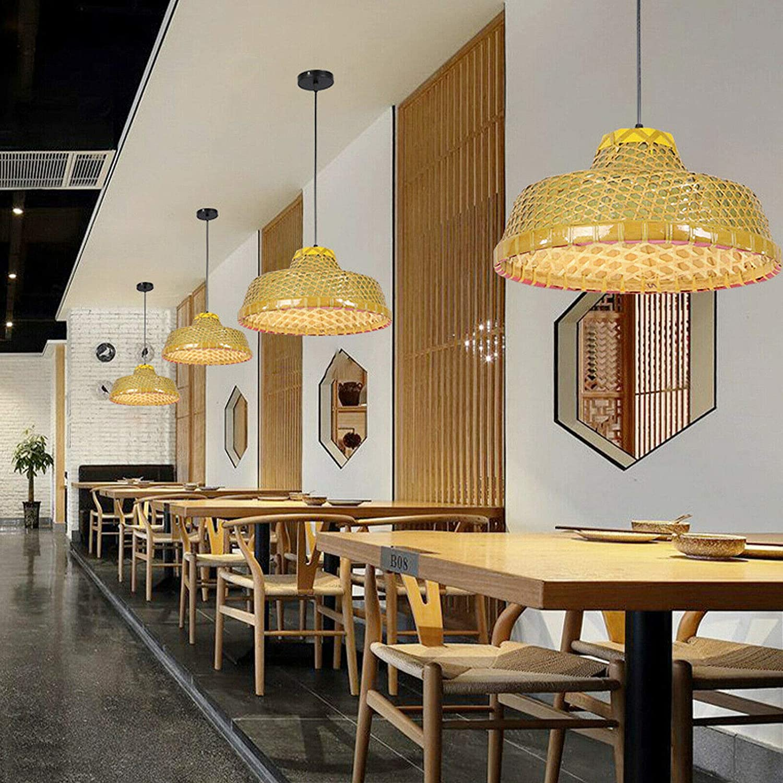 Modern Long Beach Mall Bamboo Rattan Lights Fixture Bas Chandelier Wicker Price reduction