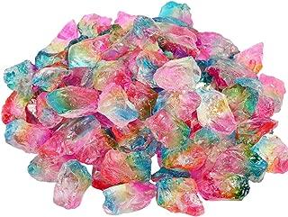 SUNYIK Rainbow Titanium Coated Rough Crystal Point Raw Rock Quartz Cluster Specimen 0.5lb (0.5