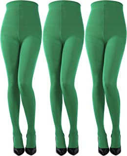 1195c965a Sumind 3 Pairs St. Patrick s Day Full Length Striped Tights Thigh High  Stocking for Women