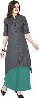 Florence Grey Slub Cotton Embellished Stitched Kurtis with Palazzo(FL-KT-130-PZ-15)