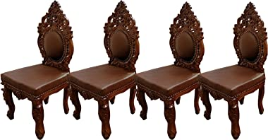 TAYYABA ENTERPRISES Teak Wood Dining Chairs in Number of 4 Chairs with Beutifull Hand Carving Design for Dining Room
