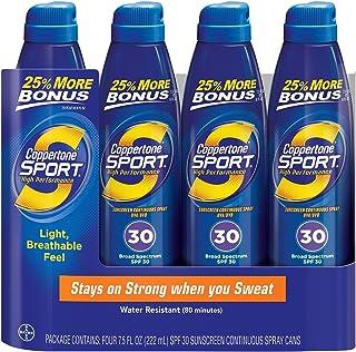 Coppertone Sport Broad Spectrum SPF30 Continuous Spray Sunscreen (7.5 fl oz 4ct) by Coppertone