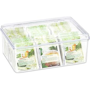 Relaxdays Caja para té e infusiones, Seis Compartimentos, para 90 bolsitas, Tapa abatible, 9 x 21 cm, Transparente, Plástico: Amazon.es: Hogar