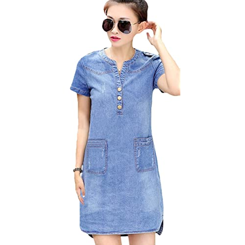 15190bc0f8e Youhan Women s Vintage Fitted V-Neck Short Sleeve Denim Dress