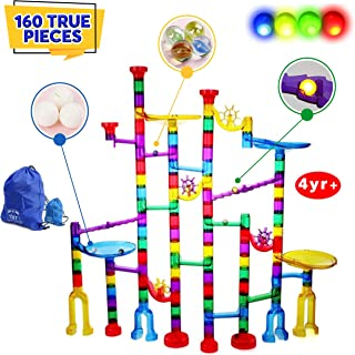 160Pcs Marble Run - Tested By Teachers - This is a Magic Marble Run Genius Set for Kids with FLASHING MARBLES. Ideal Fun a...