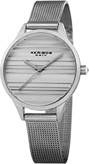 Striated Classic Designer Watch - Clean and Unique Dial Women's Quartz Watch on Mesh Bracelet - AK1005