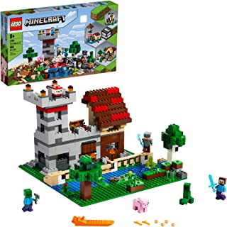 LEGO Minecraft The Crafting Box 3.0 21161 Minecraft Brick Construction Toy and Minifigures, Castle and Farm Building Set, ...