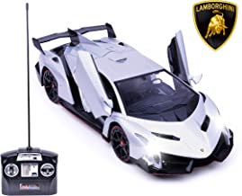 Haktoys Licensed Lamborghini Veneno Roadster Dark Silver 1:14 Scale RC Sports Car Realistic Car Sound & Detailed Design | Head/Rear Lights | Slide-Up/Scissor Doors | Battery Operated & Pre-Assembled