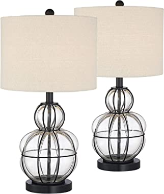 Eric Modern Table Lamps Set of 2 Dark Bronze Blown Glass Gourd Burlap Fabric Drum Shade for Living Room Bedroom Bedside Nightstand Office Family - 360 Lighting