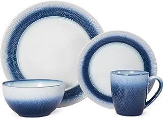 مجموعة أواني طعام مستديرة من الخزف الحجري من Pfaltzgraff باللون الأزرق الكسوف 16 قطعة