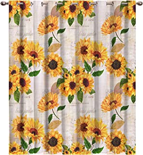 Futuregrace Elegant Blackout Curtains by, Sunflower with Newspaper Background Livingroom Bedroom Darkening Window Draperies & Curtains Home Office Decor 52