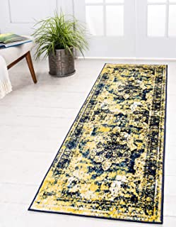 Unique Loom 3137837 Sofia Collection Traditional Vintage Beige Area Rug, 2' 0 x 6' 7 Runner, Navy Blue