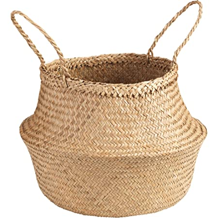 2pcs Woven Seagrass Tote Belly Basket for Storage Laundry Plant Pot Cover