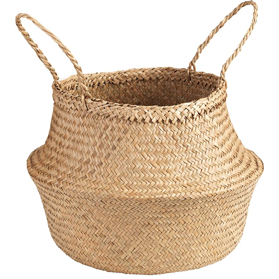 Welcare Natural Woven Seagrass Tote Belly Basket for Storage, Laundry, Picnic, Plant Pot Cover, and Beach Bag (Natrual) mkrpywseopoyzs