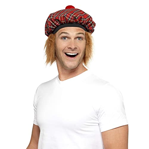 12275540df1d9 Smiffys Tam-O-Shanter Tartan Hat with Hair and Pom Pom