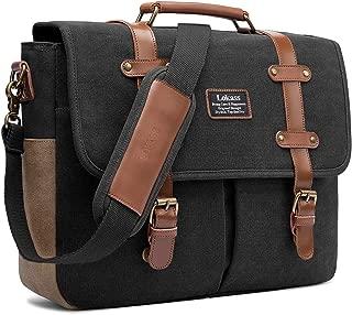 Mens Messenger Bag, 15.6 Inch Laptop Shoulder Bag Canvas Business Briefcase Large Vintage Satchel College Bookbag Retro Brown Leather Handbag Crossbody Bag for Men, Black