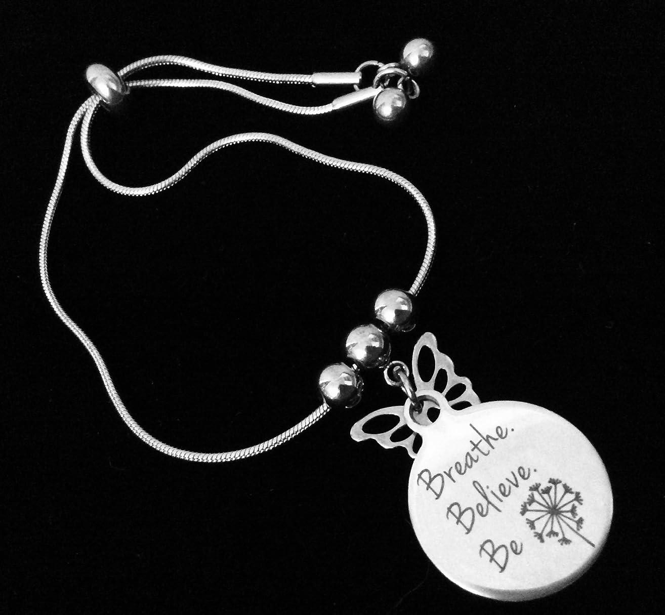 Breathe Believe Be Bolo Bracelet Stainless Steel Adjustable Bracelet Gift Message Charm Bracelet One Size Fits All