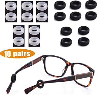 MOLDERP Silicone Eyeglasses Temple Tips Sleeve Retainer, Anti-Slip Round Comfort Glasses Retainers for Spectacle Sunglasses Reading Glasses Eyewear, 10 Pairs