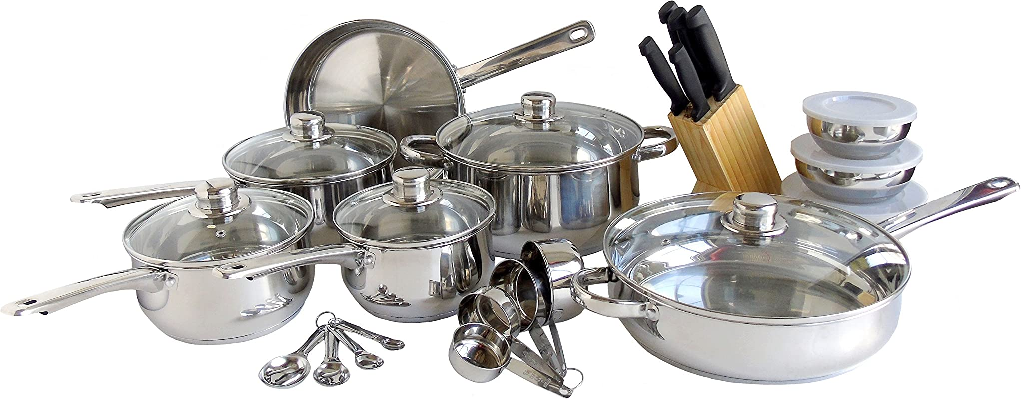 Freedom Stainless Steel Silver Kitchen Cookware Set Pots And Pans 31 Piece