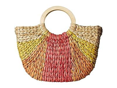 San Diego Hat Company BSB1734 Cornhusk Tote Circular Wood Handle (Yellow) Handbags