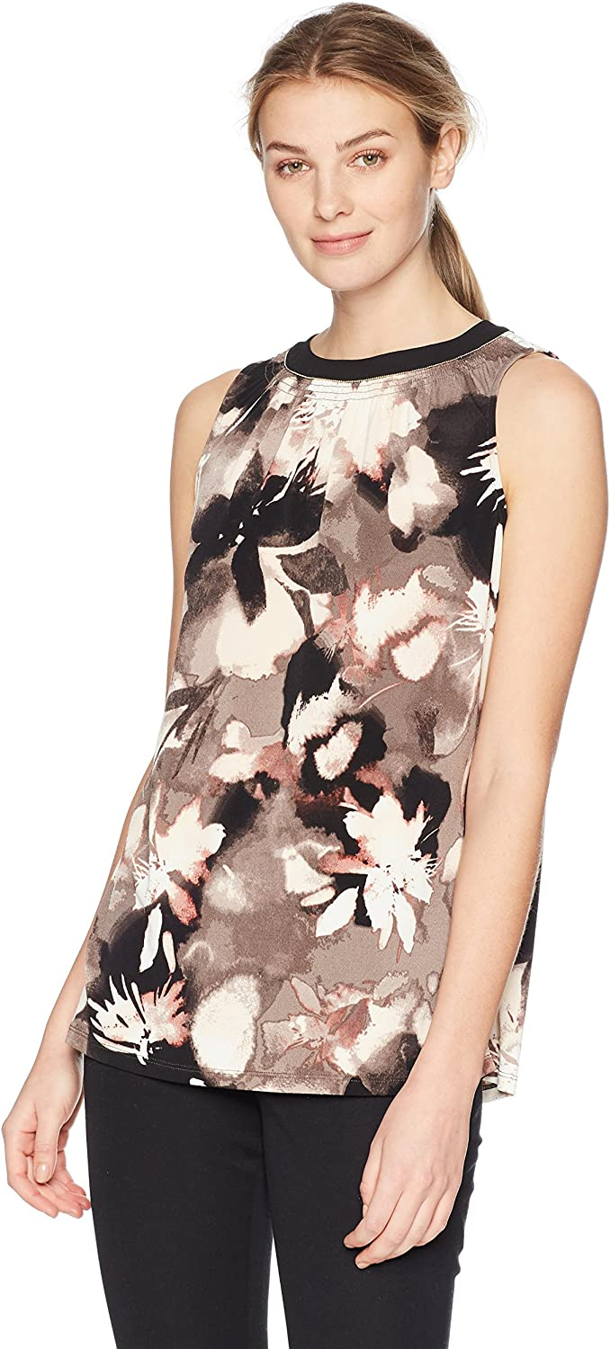 Ellen Tracy Womens Sleeveless Top with Smocking Blouse