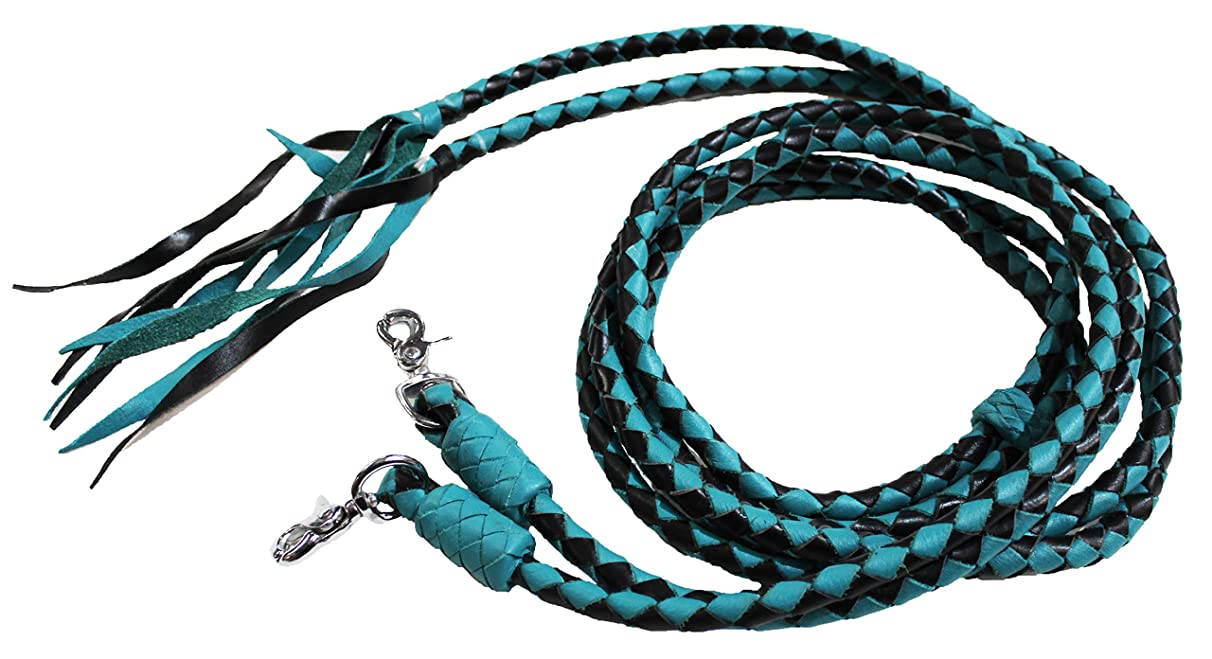 Horse Horse Western Turquoise Leather Round Braided Supple Roper Split Reins 6651TR