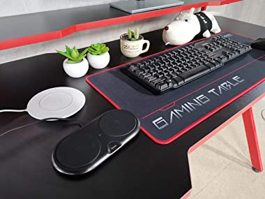 """JJS 48"""" Home Office Gaming Computer Desk with Removable Monitor Stand, R Shaped Large Gamer Workstation Pc Table with Cup"""