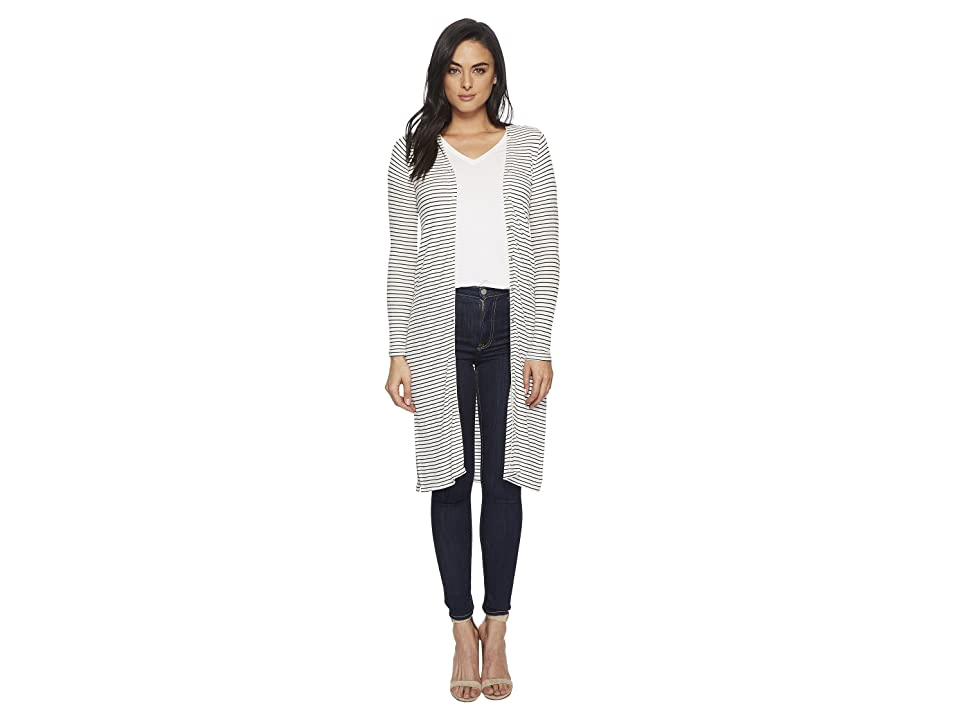 Three Dots Hyannis Stripe Long Sleeve Cardigan (Natural/Black) Women