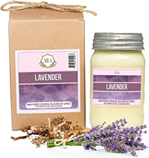 Aira Soy Candles - Organic, Kosher, Vegan, in Mason Jar w/Therapeutic Grade Essential Oil Blends - Hand-Poured 100% Soy Candle Wax - Paraffin Free, Burns 110+ Hours - Pure Lavender - 16 Ounces
