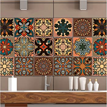 mefound 20psc Tile Stickers,Moroccan Style Wall Tile ...