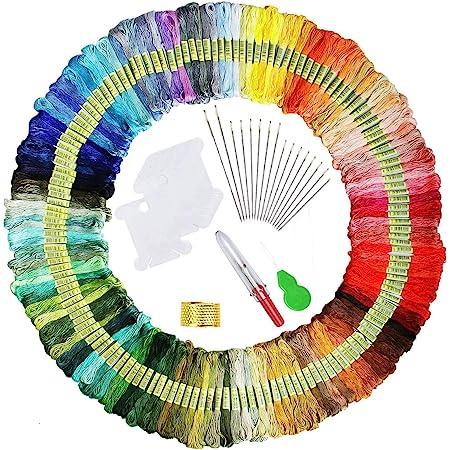 150 Farben Stickgarn, Multifarben Sticken Garn mit 12 Spulen Organisator f/ür Freundschaftsb/änder Kit Stickerei Basteln Leisure Arts Kreuzstich Embroidery Threads N/ähgarne H/äkeln, 8m elloLife