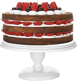 MyGift 10-inch Classic White Round Cake Stand Pedestal