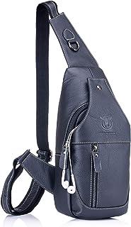 Genuine Leather Sling Bag,Full Grain Leather Casual Crossbody Shoulder Chest Bag Travel Hiking Vintage Day Pack Backpacks for Men (Black)